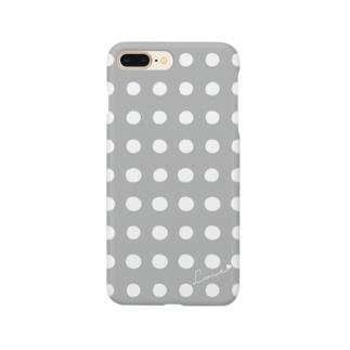 手書き風ドット柄(グレー×ホワイト) Smartphone cases