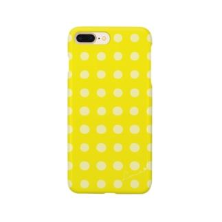 手書き風ドット柄( イエロー) Smartphone cases