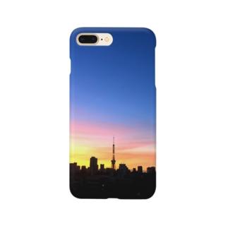 夏の夜明けと東京タワー Smartphone cases