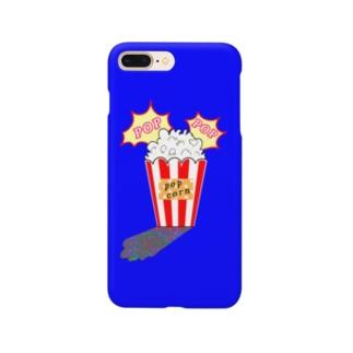 ポップコーン(ブルー) Smartphone cases