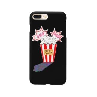ポップコーン(ブラック) Smartphone cases