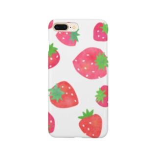 手描きのイチゴ Smartphone cases