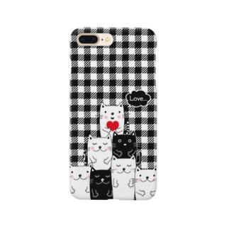 白黒ねこチーム(ギンガムチェック) Smartphone cases