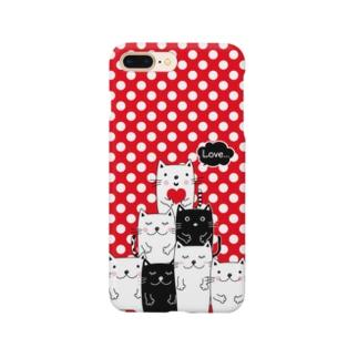 白黒ねこチーム(赤ドット)  Smartphone cases