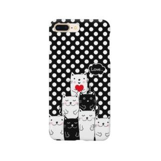 白黒ねこチーム(黒ドット)  Smartphone cases
