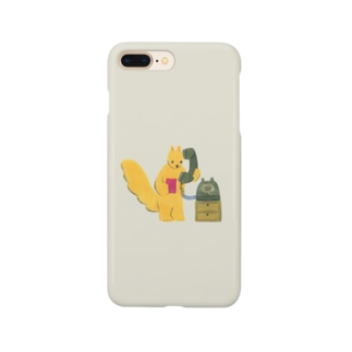 モシモシ(黒電話とリス) Smartphone cases