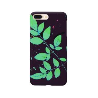 枝葉(黒×グリーン) Smartphone cases
