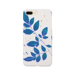 枝葉(白×ブルー) Smartphone cases