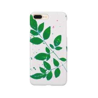 枝葉(白×グリーン) Smartphone cases