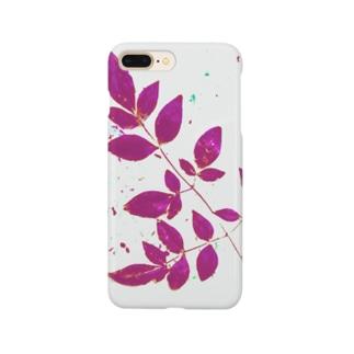 枝葉(白×ピンク) Smartphone cases