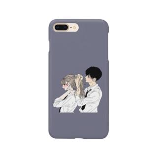 カップルスマホケース くすみブルー Smartphone cases