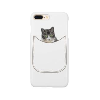 ポケットに強面ニャンコ Smartphone cases