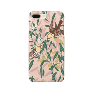 オリーブの森 ピンク Smartphone cases