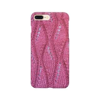透かし編みニット手編み風赤 Smartphone cases