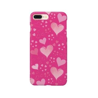ハート柄(ローズピンク) Smartphone cases