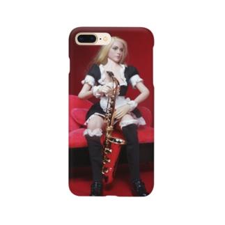 ドール写真:サクソフォンを持つブロンドメイド Doll picture: Blonde maid with a saxophone Smartphone cases