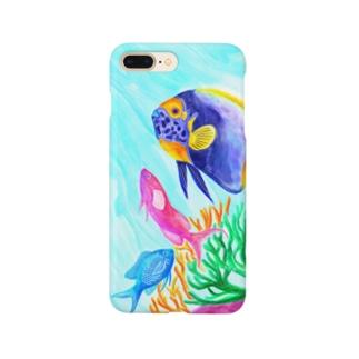 トモカワ ヒロサキ デザインショップの【海水魚】コーラルフィッシュ3種盛り Smartphone cases