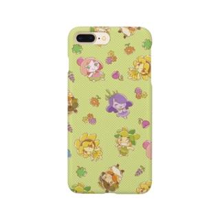 チエリちゃんとなかまたち  手描き風 グリーン Smartphone cases