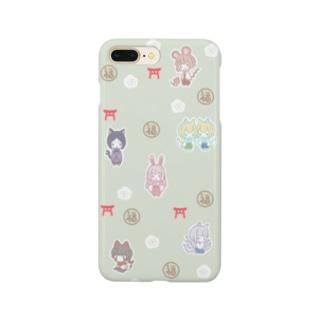 かみさま柄(抹茶) Smartphone cases