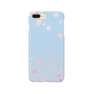 花柄 桜 2-2 ブルー #109 Smartphone cases