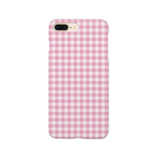 ギンガムチェック 5 ピンク  #118 Smartphone cases
