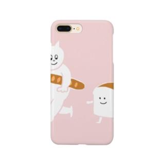 食パンとねこ ピンクver Smartphone cases