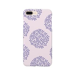 北欧 花柄 アジサイ 3 パープル #211 Smartphone Case