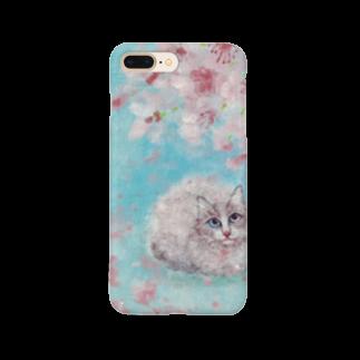 saiko-ruiの桜の下の猫 Smartphone cases