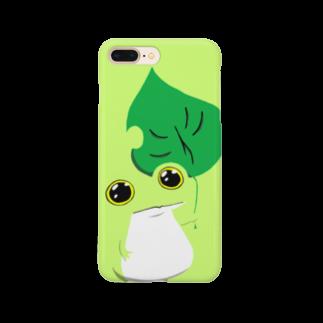 ぴよのカエル屋さんのスマホカバー カエル(緑) Smartphone cases