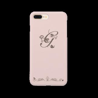 sonoteniのアルファベット イニシャル ボタニカル ピンク G #135 Smartphone cases