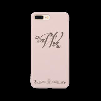 sonoteniのアルファベット イニシャル ボタニカル ピンク W #151 Smartphone cases
