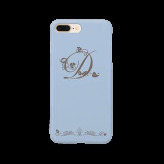sonoteniのアルファベット イニシャル ボタニカル ブルー D #157 Smartphone cases