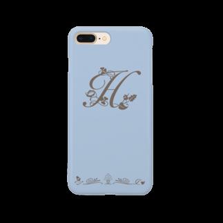 sonoteniのアルファベット イニシャル ボタニカル ブルー H #161 Smartphone cases