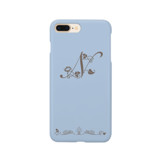 sonoteniのアルファベット イニシャル ボタニカル ブルー N #167 Smartphone cases