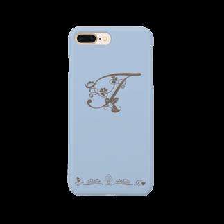 sonoteniのアルファベット イニシャル ボタニカル ブルー T #173 Smartphone cases