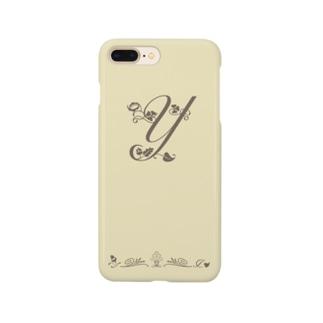 アルファベット イニシャル ボタニカル クリーム Y #204 Smartphone Case