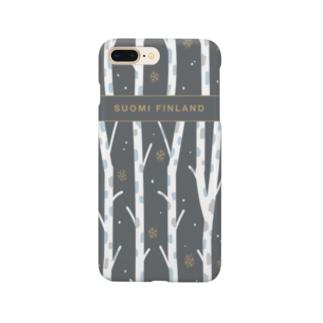 フィンランドの白樺(black) Smartphone cases