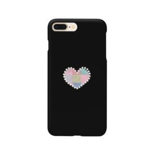 パールハートのパッチワーク&ブラック♪ Smartphone cases