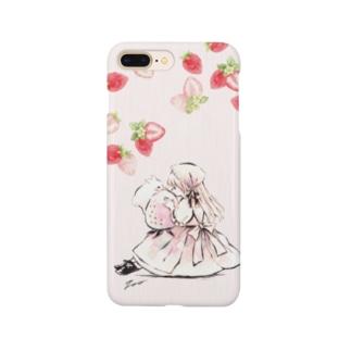 かわいい苺と女の子とうさぎのイラストスマホカバー Smartphone Case