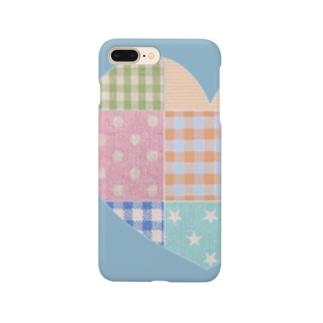 ハートのパッチワーク風&水色♪ Smartphone cases
