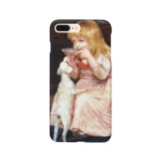 犬のエサ横取り少女 西洋画 Smartphone cases