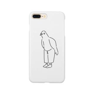 斜に構えた鳩くん Smartphone cases