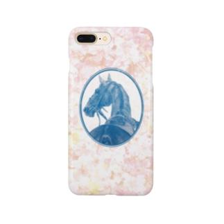サラブレッドの肖像画(ピンク) Smartphone cases