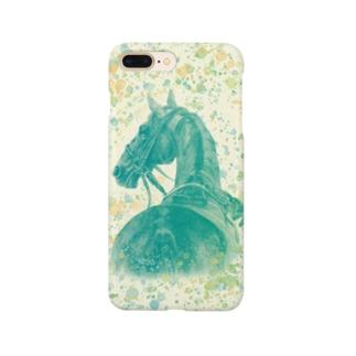 サラブレッドの肖像画(グリーン) Smartphone cases