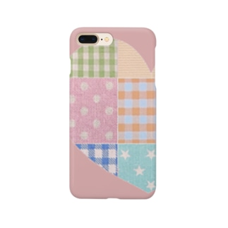 ハートのパッチワーク風&ピンク♪ Smartphone cases