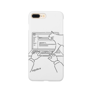 bunの「じゃまねこ」パソコンのじゃまをするねこ Smartphone cases