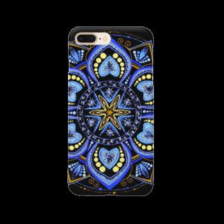 始季彩@suzuriの青の世界﹣点描曼荼羅 Smartphone cases