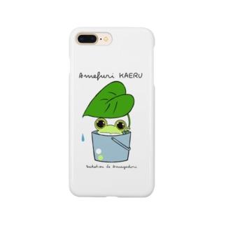 カエル バケツで雨やどり Smartphone cases