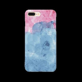 SANKAKU DESIGN STOREの赤と青のツートンシャボン。 Smartphone cases
