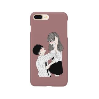 カップルスマホケース くすみピンク Smartphone cases